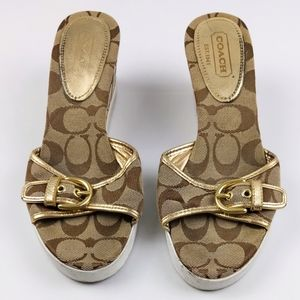 COACH PERRY 6.5 Shoes BROWN GOLD sandals WEDGE
